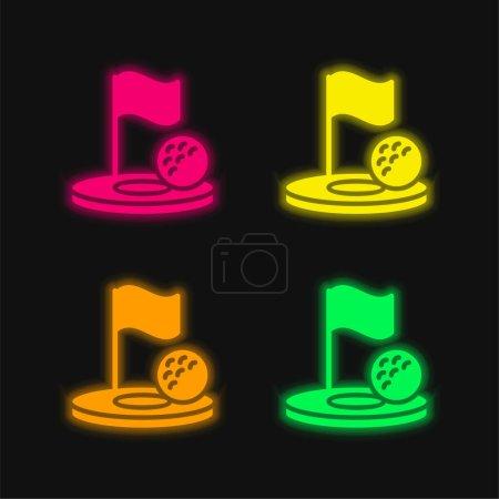 Birdie four color glowing neon vector icon
