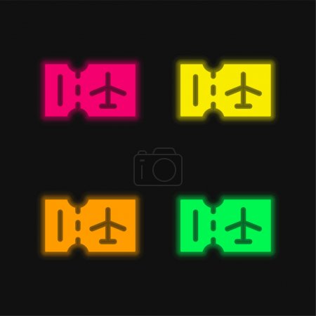 Illustration for Boarding Pass four color glowing neon vector icon - Royalty Free Image