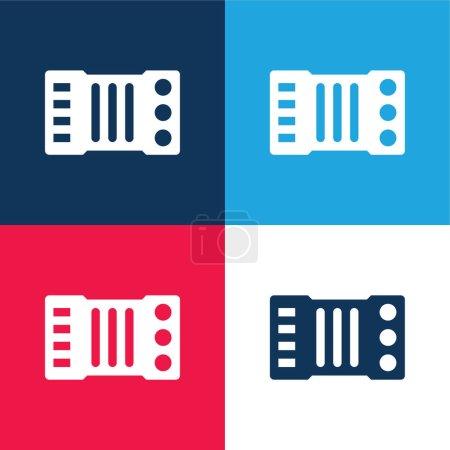 Illustration pour Ensemble d'icônes minime quatre couleurs bleu accordéon et rouge - image libre de droit