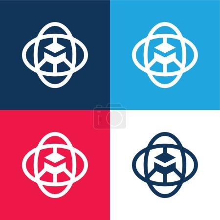 Photo pour 360 Degrés bleu et rouge quatre couleurs minimum jeu d'icônes - image libre de droit