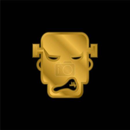 Illustration pour Angry Frankestein plaqué or icône métallique ou logo vecteur - image libre de droit