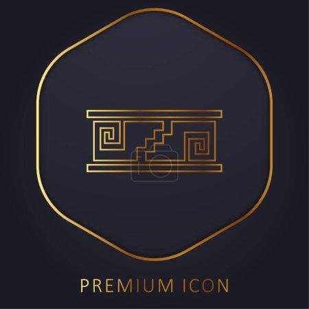 Artisanal Mosaic Of Mexico golden line premium logo or icon