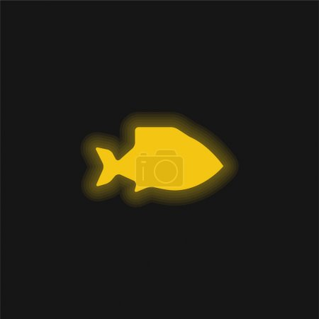 Illustration pour Gros poisson jaune brillant icône néon - image libre de droit