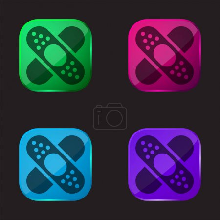 Illustration for Band Aid Forming A Cross Mark four color glass button icon - Royalty Free Image