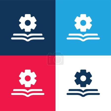 Photo pour Livre bleu et rouge quatre couleurs minimum jeu d'icônes - image libre de droit