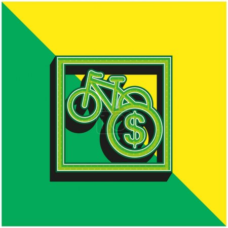 Illustration for Bikes Sale Sign In Dollars Green and yellow modern 3d vector icon logo - Royalty Free Image