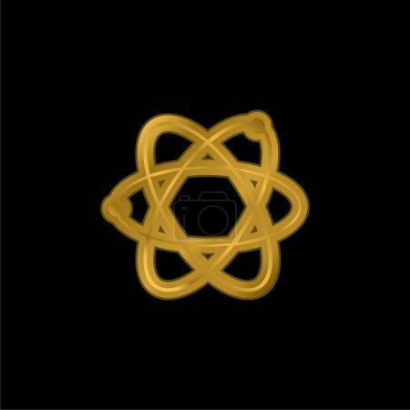 Photo pour Icône métallique plaqué or atome ou vecteur de logo - image libre de droit