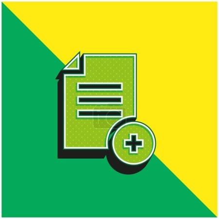 Illustration pour Ajoutez un fichier Logo d'icône vectorielle 3d moderne vert et jaune - image libre de droit
