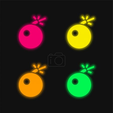Illustration for Bomb Warning four color glowing neon vector icon - Royalty Free Image