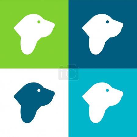 Illustration for Basset Hound Flat four color minimal icon set - Royalty Free Image