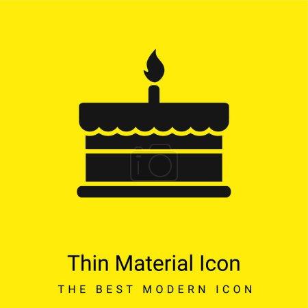 Illustration pour Gâteau d'anniversaire avec une bougie brûlante icône matérielle jaune vif minimale - image libre de droit