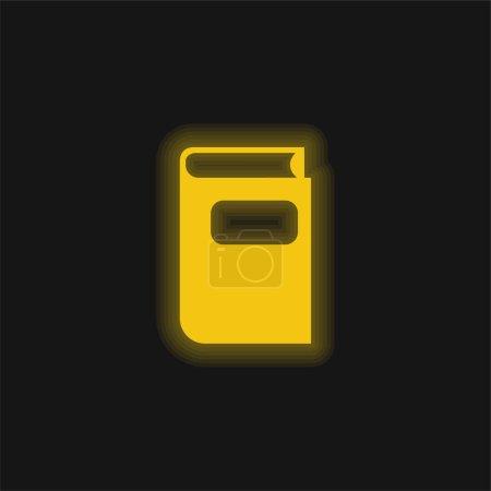 Photo pour Livre brut Forme noire jaune brillant icône néon - image libre de droit