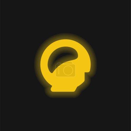 Illustration pour Icône néon jaune cervelle - image libre de droit