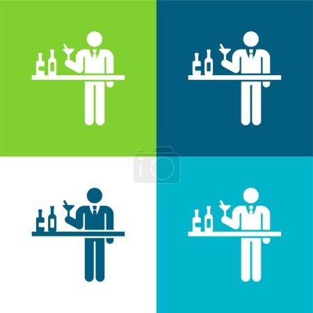 Photo pour Barman Ensemble d'icônes minime plat quatre couleurs - image libre de droit