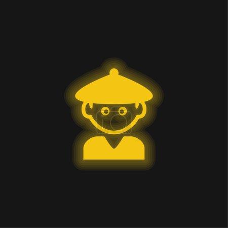 Illustration pour Garçon avec chapeau chinois jaune brillant icône néon - image libre de droit
