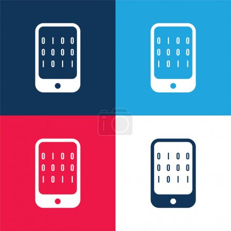 Illustration for Binary Data Of A Computer blue and red four color minimal icon set - Royalty Free Image