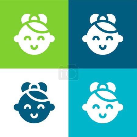 Illustration pour Ensemble d'icônes minime Baby Flat quatre couleurs - image libre de droit