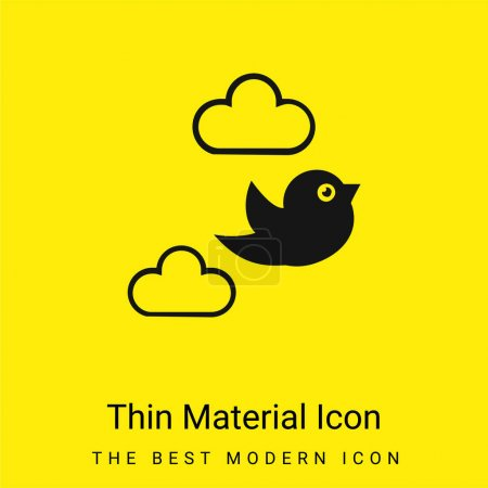 Photo for Bird Flying Between Clouds minimal bright yellow material icon - Royalty Free Image