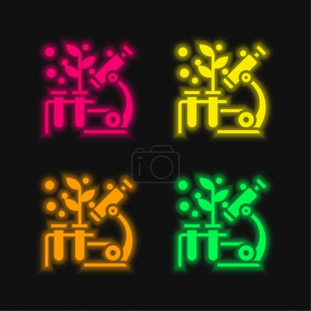 Illustration for Biology four color glowing neon vector icon - Royalty Free Image