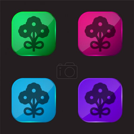 Illustration for Bouquet four color glass button icon - Royalty Free Image