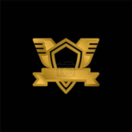 Insignia chapado en oro icono metálico o logotipo vector