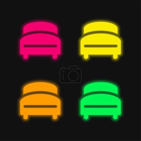 Illustration pour Lit quatre couleurs brillant icône vectorielle néon - image libre de droit