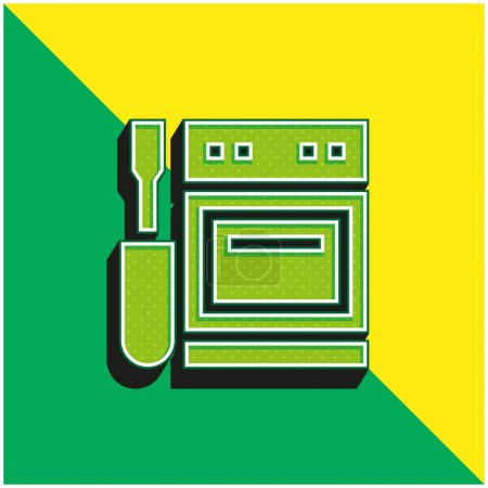 Illustration for Appliance Green and yellow modern 3d vector icon logo - Royalty Free Image