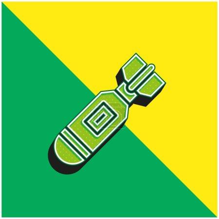 Illustration pour Bombe Logo vectoriel 3D moderne vert et jaune - image libre de droit