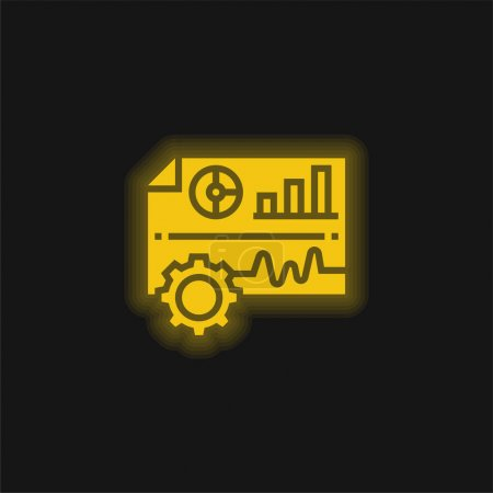 Illustration for Analysis yellow glowing neon icon - Royalty Free Image
