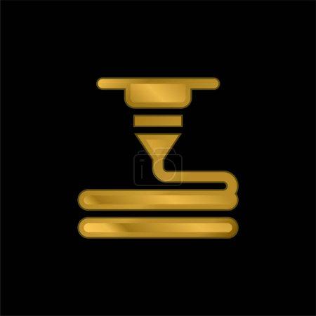 Photo pour Imprimante 3d plaqué or icône métallique ou logo vecteur - image libre de droit