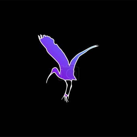Bird Stork Shape blue gradient vector icon
