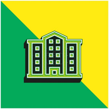 Illustration for Apartment Green and yellow modern 3d vector icon logo - Royalty Free Image