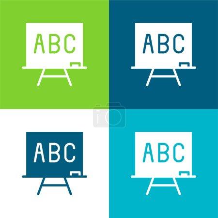 Photo pour ABC Flat quatre couleurs minimum jeu d'icônes - image libre de droit