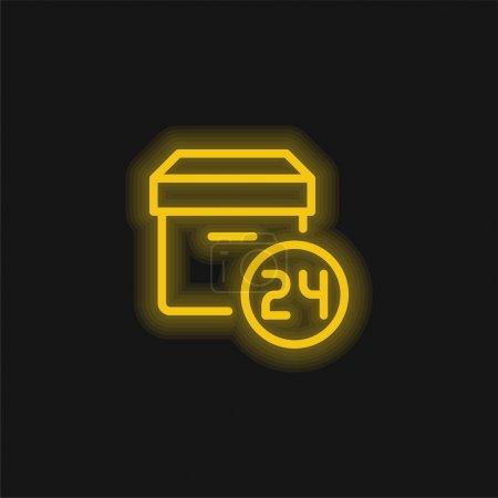 Illustration pour 24 Heures jaune brillant icône néon - image libre de droit