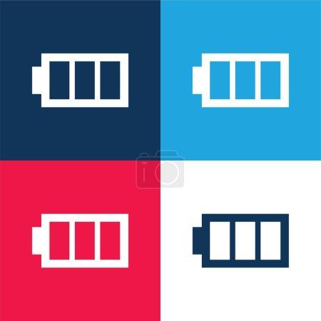 Illustration pour Image de la batterie avec trois zones bleu et rouge ensemble d'icônes minimales de quatre couleurs - image libre de droit