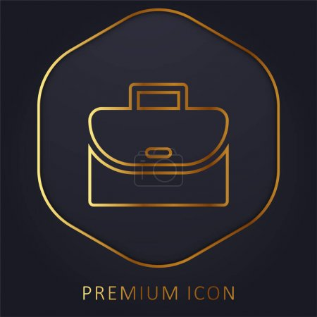 Illustration for Briefcase golden line premium logo or icon - Royalty Free Image