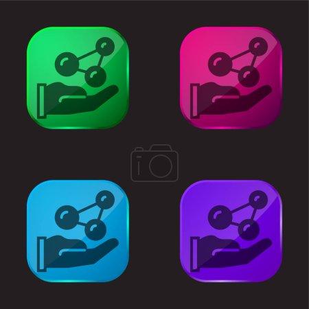 Illustration pour Atomes icône de bouton en verre de quatre couleurs - image libre de droit