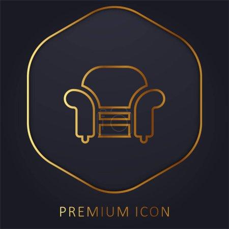 Armchair golden line premium logo or icon