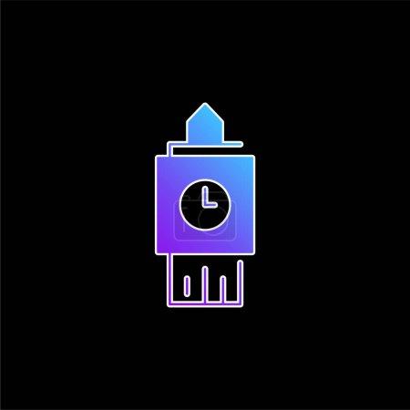Big Ben blue gradient vector icon