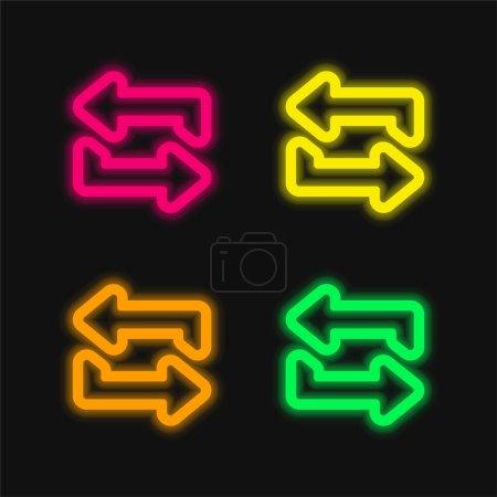 Flèches esquissées Couple quatre couleurs brillant icône vectorielle néon