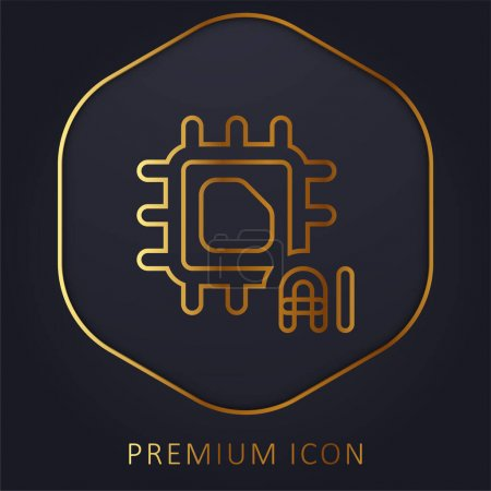 Illustration for Artificial Intelligence golden line premium logo or icon - Royalty Free Image