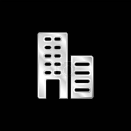 Illustration for Apartments silver plated metallic icon - Royalty Free Image