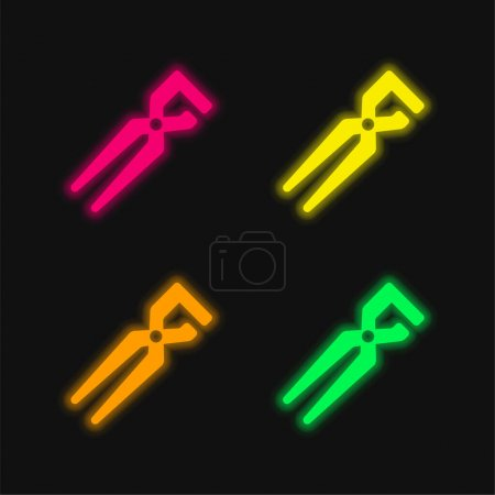 Illustration for Big Clippers four color glowing neon vector icon - Royalty Free Image