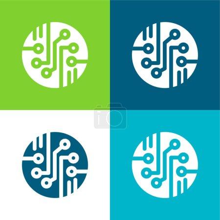 Illustration pour Bio Sensor Ensemble d'icônes minimal plat quatre couleurs - image libre de droit