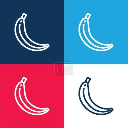 Illustration pour Ensemble d'icônes minime quatre couleurs bleu banane et rouge - image libre de droit
