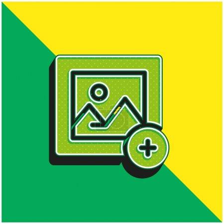 Añadir imagen verde y amarillo moderno 3d vector icono logo