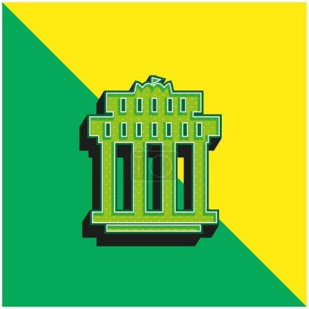 Illustration pour Porte de Branderbourg Logo vectoriel 3D moderne vert et jaune - image libre de droit