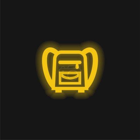 Illustration pour Sac à dos pour l'école jaune néon brillant icône - image libre de droit