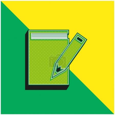 Foto de Libro Y Lápiz Verde y amarillo moderno 3d vector icono logotipo - Imagen libre de derechos
