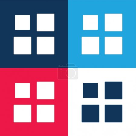 Illustration for Array blue and red four color minimal icon set - Royalty Free Image